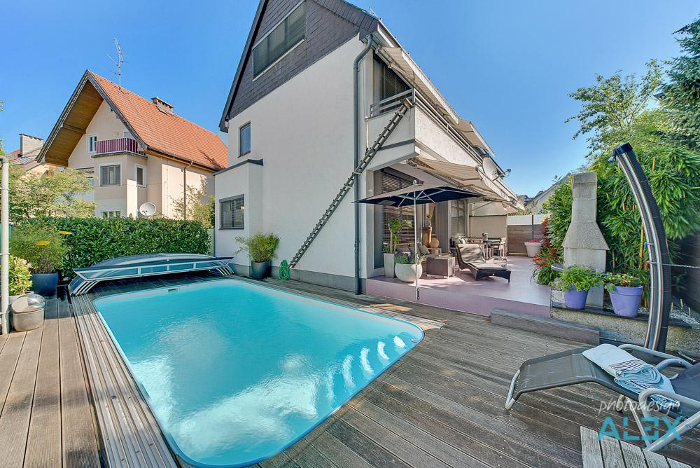 HDR der Verkaufs-Immobilie mit Pool